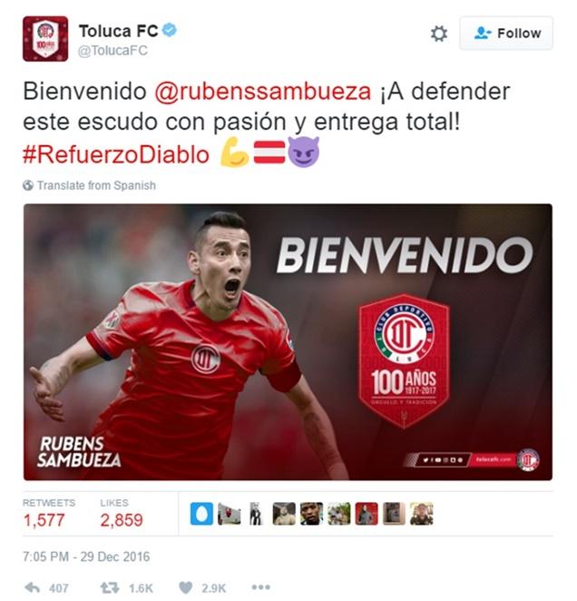Adiós Rubens Sambueza; He's Moving to Toluca