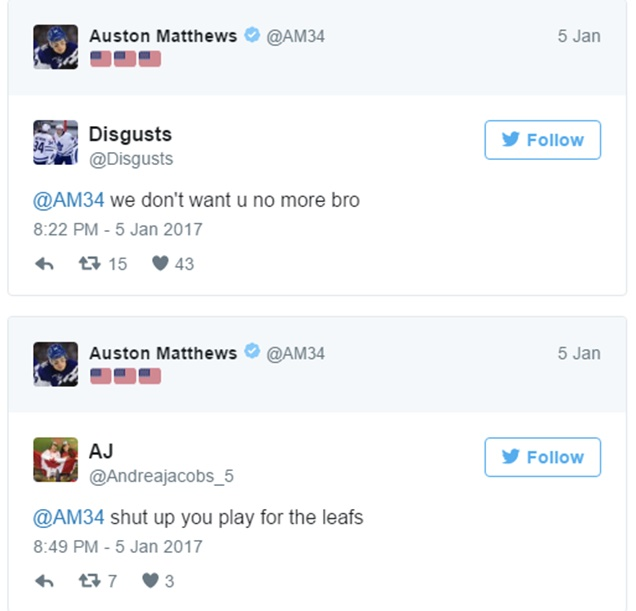 Auston Mathews Tweet