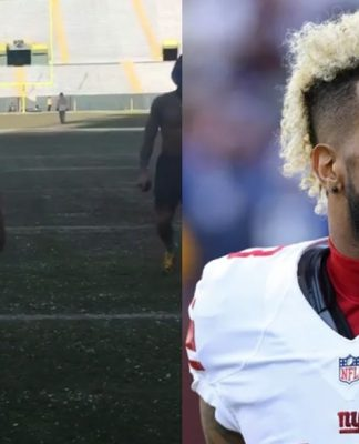NY Giants Shirtless; OBJ Punches Wall