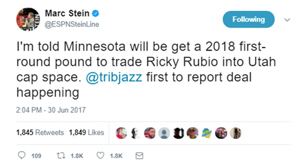 Ricky Rubio Traded To Jazz For First Round Draft
