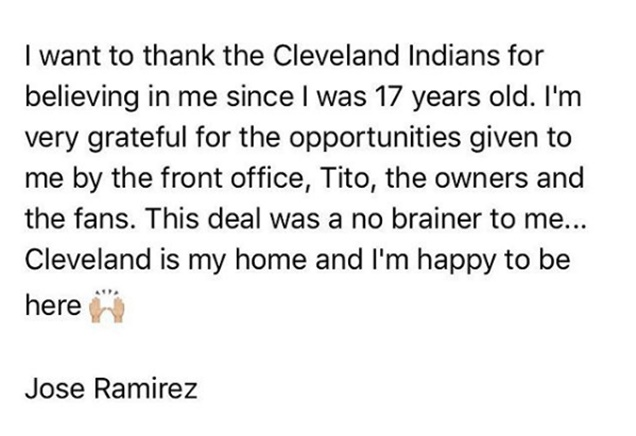 Jose Ramirez Hits a Homer with 5-year $26M Extension