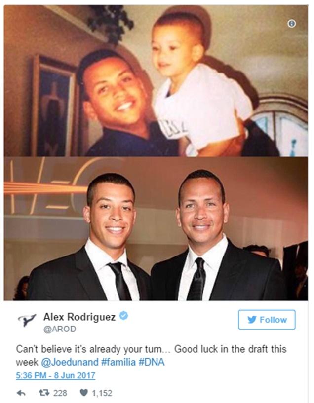 Alex Rodriguez Celebrates Nephew Being Selected at MLB Draft